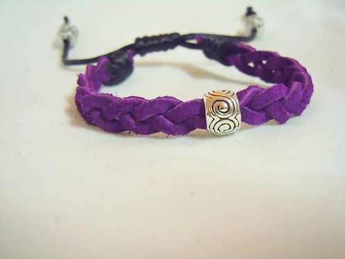 Purple Suede with Silver Filigree Bead PLB 102