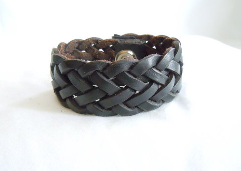 "1.25"" Black Leather Braided Cuff MB 117"