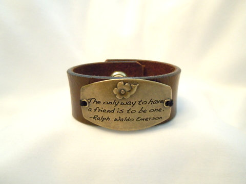 "1"" Brown Leather Cuff with Bronze Quote CBB 110"