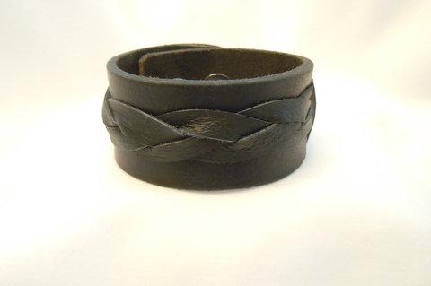 1.25 Inch Black Cuff with Black Braid CBB 114
