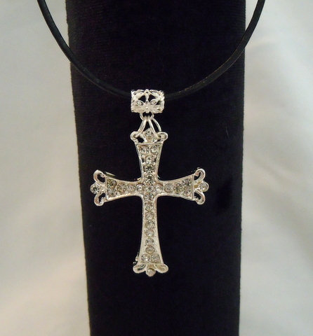Large Silver Rhinestone Cross Necklace NK-120