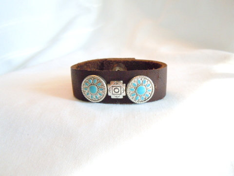 Soft Brown Leather Cuff with Tibetan Charms CB 125