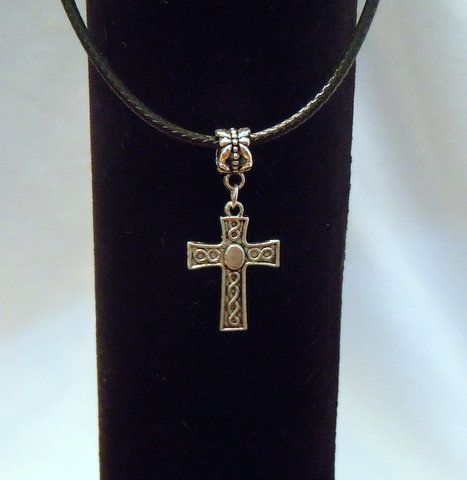 Silver Cross on Black Leather Cord NK 137