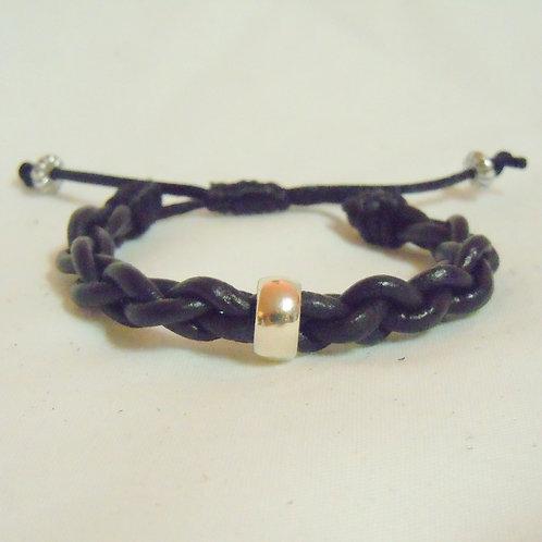 Black Leather Braid, Silver Tibetan Bead BLB 46