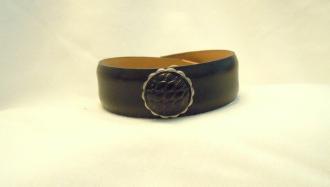 "1/2"" Black Leather Cuff with Black Button CBB 118"