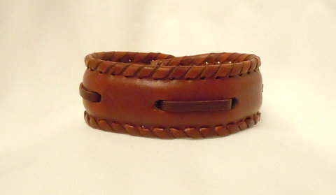 1 Inch Brown Leather Cuff with Brown Lacing CBB-10