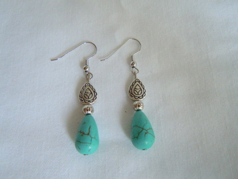 Turquoise and Silver Teardrop Bead Earrings ER 122