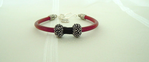 Red 5mm Leather cord with 2 Tibetan Beads BL101