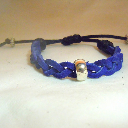 Blue Braided Leather with Silver Bead  CB 101