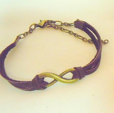 Bronze Infinity Leather Bracelet BL 101