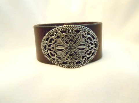 """1.25"""" Brown Cuff with Med Filigree Plate CBB 116"""