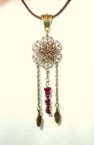 Bronze Dream Catcher with Garnet NK 128
