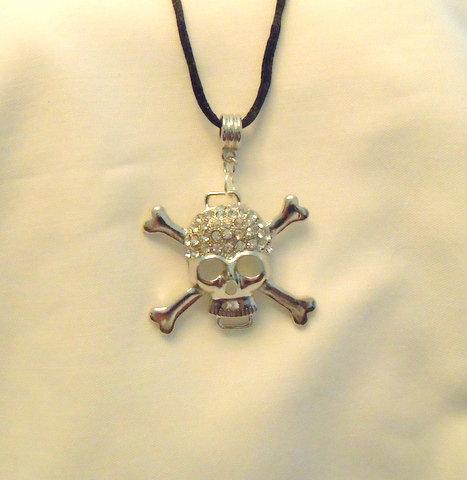 Medium Sugar Skull on Black Leather Necklace