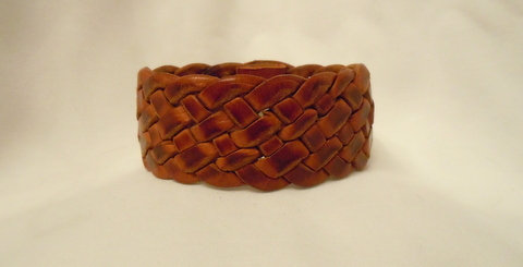 1.25 Inch 7 strand Brown Leather Cuff  CBB-104