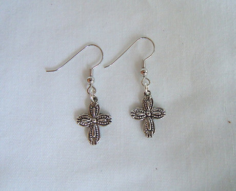 Silver Cross Earrings ER 105