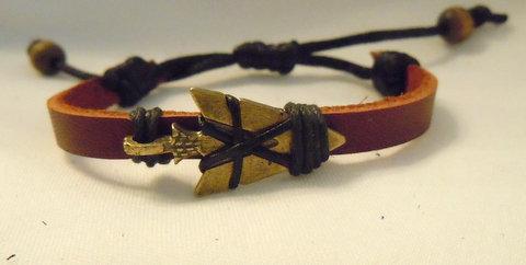 Bronze Arrowhead on Brown Deerskin Band BBRA 102