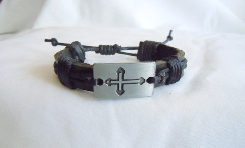 Black Leather Band with Pewter Block Cross MB 116