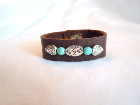 Brown Leather with Turquoise and Silver CBB 132