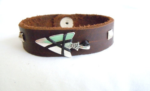 Brown Leather Band with Silver Arrowhead MB 124