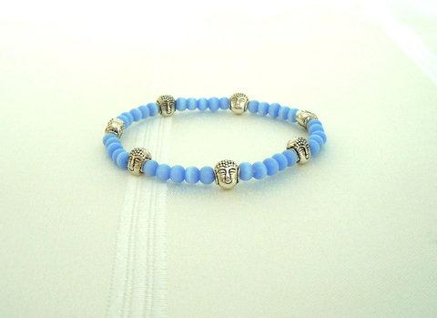 Blue Agate Stones with Buddha Bracelet TEB101