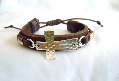 Brown Leather with Silver Hammered Cross MB 115
