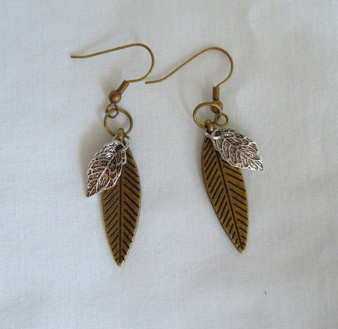 Bronze Leaf Earring with Silver Leaves ER 101
