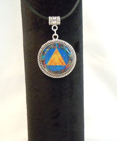 Yellow Triangle in Antique Silver Bezel NK 121