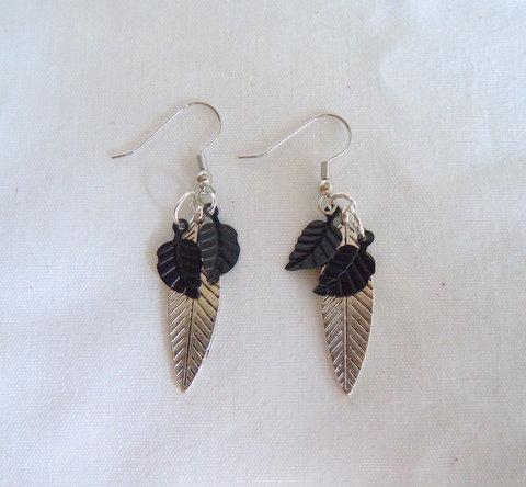 Silver and Black Leaf Earrings ER 118