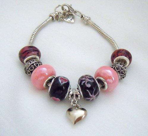 Pink and Black Heart Charm Bracelet PB 114