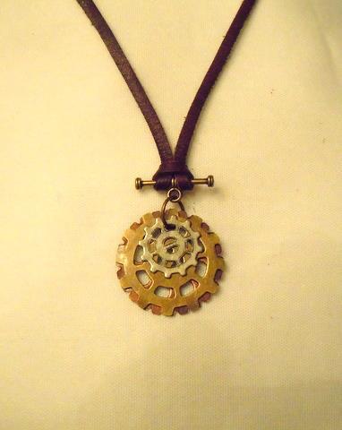 Bronze Cog Wheel Necklace NTMB 101