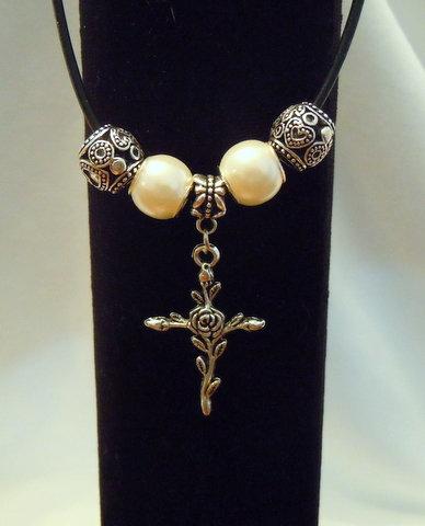 Silver Rose Cross with Pearl/Tibetan Bead NK 142