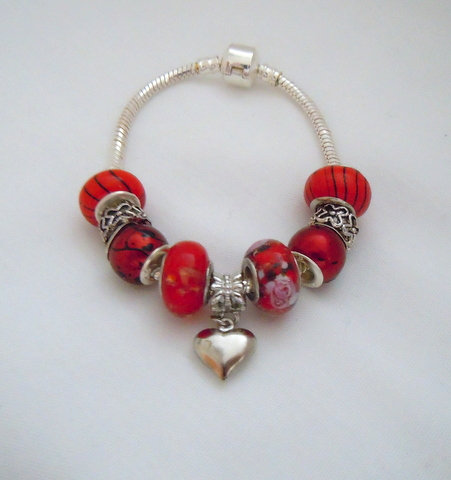 Bright Red Beaded Bracelet with Heart PB 112
