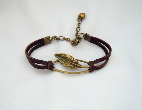 Bronze Leaf on Brown Leather Bracelet BBRL 101