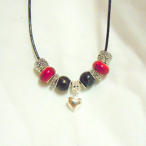 Black and Red Beaded Necklace with Heart NP 102