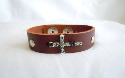Brown Leather Band with Stake Cross MB 113
