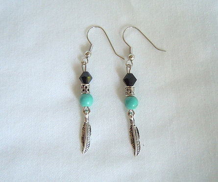 Turquoise and Feather Earrings ER 123