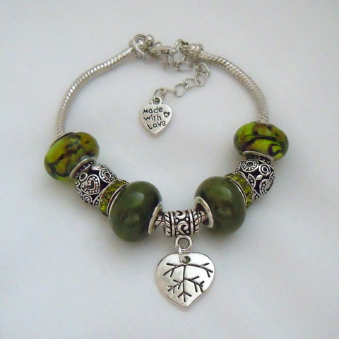 Green and Silver Tibetan Bead Bracelet PB 113