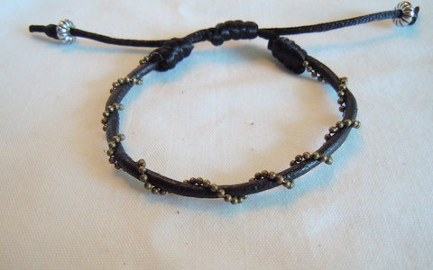 Black Leather with Pewter Ball Chain BC 105