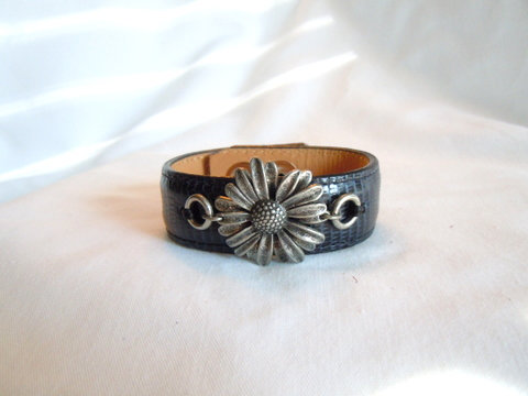 "Navy 1"" Cuff with Silver Sunflower CBB 130"