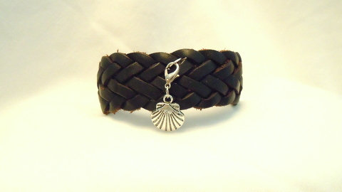5 Strand Black Braid Leather Cuff with Charm