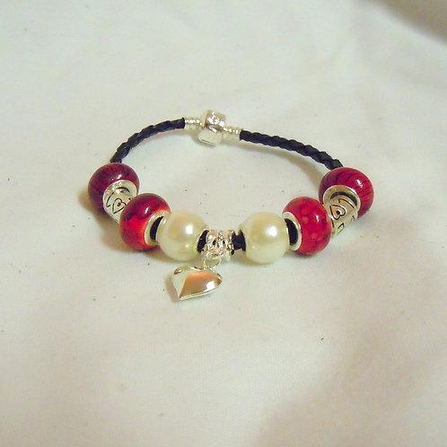 Pearl and Heart Beaded Bracelet PB 102
