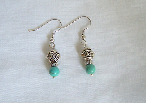 Turquoise and Silver Tibetan Bead Earrings ER 120