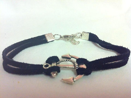 Silver Anchor on Black Leather Bracelet BBA 101