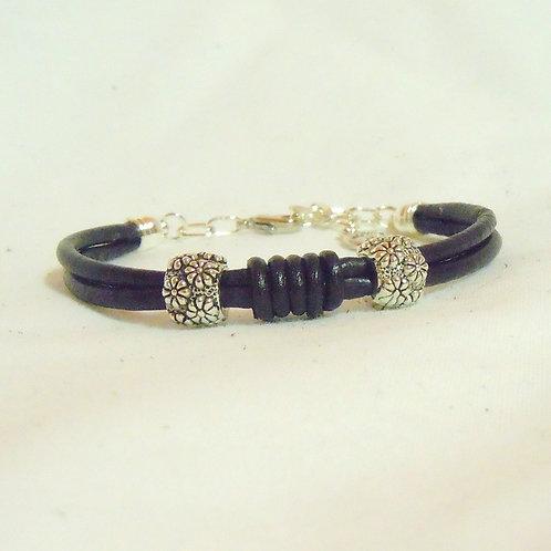 Flower Beaded Leather Bracelet BLB 47