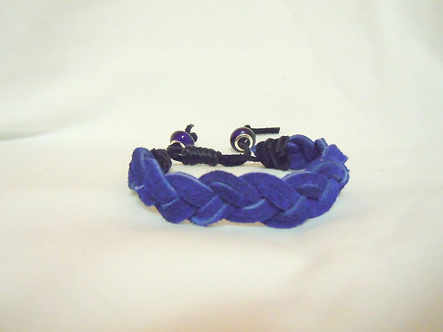 Cobalt Blue Leather Triple Braid Bracelet CBB 101