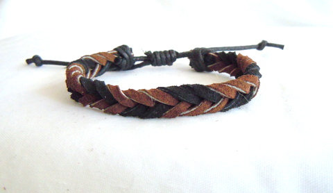 Black and Brown Suede Fishtail Braid MB 122