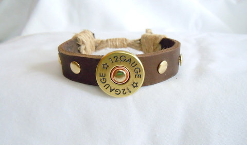 Brown Leather Band with 12 Gauge Charm MB 114
