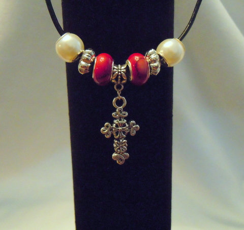 Silver Floral Cross, Red and Pearl Beads NK 141