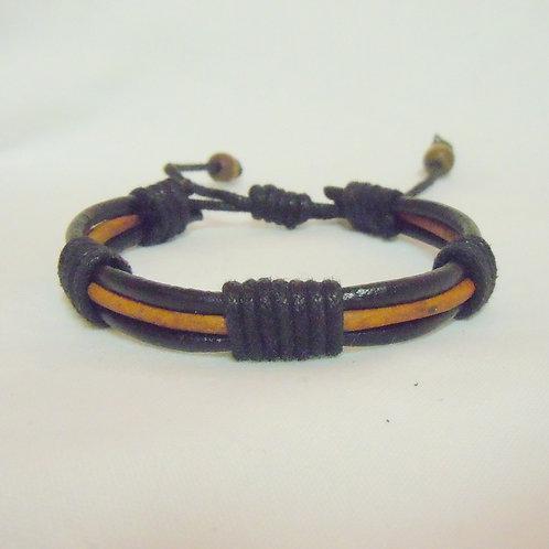 Black and Tan Triple Strand Leather BRBB 103