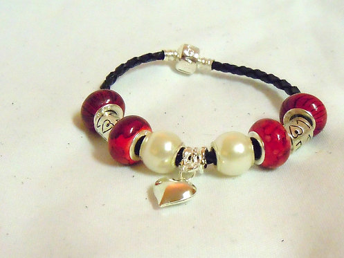 Red and Pearl Beaded Bracelet with Heart Pendant